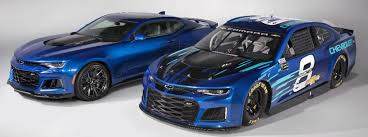2018 chevrolet for nascar. delighful chevrolet blue 2018 chevy camaro zl1 next to nascar in chevrolet for nascar