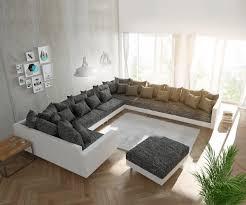 Couch Clovis Xxl Weiss Schwarz Mit Hocker Und Armlehne