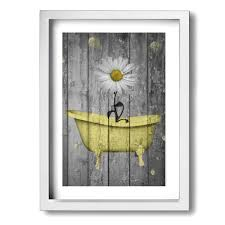 10 unique and catchy women's bathroom sign ideas) mediterranean bathroom Ale Art Rustic Picture Frame Bathroom Wall Art Daisy Flower Bubbles Yellow Gray Vintage Rustic Bath Wall Art Ready To Hang For Wall Decor 9 X 13 Buy Online In Cayman Islands At