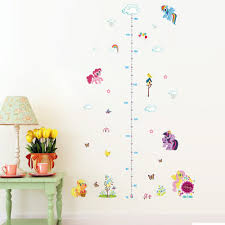 Us 2 38 16 Off Popular Cartoon Horse Height Measure Home Decal Wall Sticker Kids Room Baby Girl Gift Growth Chart Butterfly Beautiful Mural In Wall