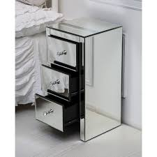 glass bedside table. Mirrored Bedside Table With Three Drawers And Glass Handles T