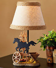 western cowboy horse burlap table lamp lodge cabin farmhouse wagon accent western table lamps p5