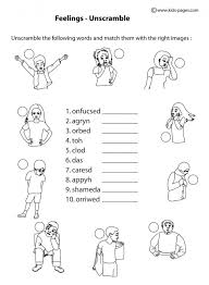 Small Picture Feelings Unscramble BW worksheet