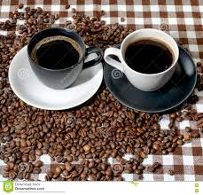 coffee cups with coffee beans. Plain Coffee Top View Of Two Coffee Cups And Beans On A Checkered Cloth Inside Coffee Cups With Beans