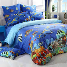 ocean blue colorful marine life 3d undersea world fish and c reef print girls boys kids 100 cotton twin full queen size bedding sets