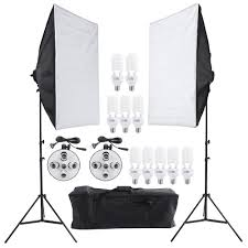 photo studio continuous lighting kit photography light stand two 50 70cm softbox ten bulbs two light holder d1670
