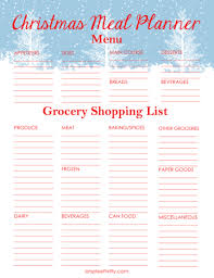 Christmas Meal Planner Printable | Menu And Shopping List - Simplee ...