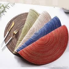 2019 ramie insulation placemats braided colorful round place mats for kitchen dining table runner heat insulation non slip washable 0181 from luckies