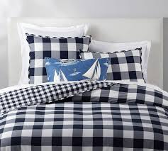 gingham check reversible percale patterned duvet cover sham pottery barn