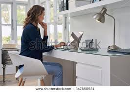 free home office. businesswoman entrepreneur working on laptop from home office space free