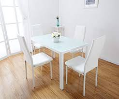 toscana white gl dining table set 4 faux leather chairs white