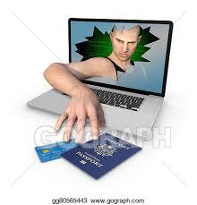 Clipart Gograph Passport Us Computer Illustration Credit Drawing - Stock Theft Identity Gg80565443 Card And Of