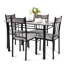 costway 5 piece faux marble dining set table and 4 chairs kitchen breakfast furniture