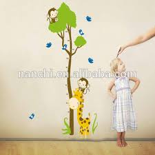 Monkey Growth Chart Wall Cartoon Giraffe Monkey Tree Kids Height Growth Chart Wall Sticker Children Room Living Room Removable Wall Decal Buy Cartoon Giraffe Monkey Kids