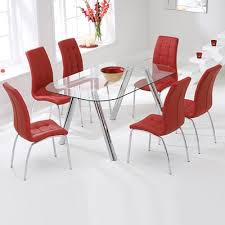 proton glass dining set with 6 calgary red chairs 6447