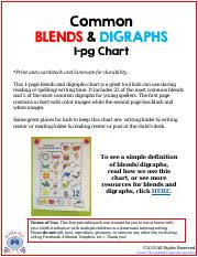 Free Blends And Digraphs Chart Pdf Common Blends Digraphs