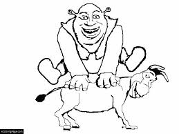Small Picture Shrek Jumping Over Donkey Printable Coloring Page eColoringPage