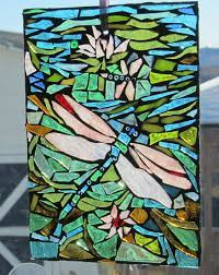 dragonfly stained glass mosaic wall