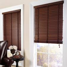 Living Room Blinds Ideas : Inspiring Home Interior Decoration With Dark  Brown Wooden Blinds Of Glass