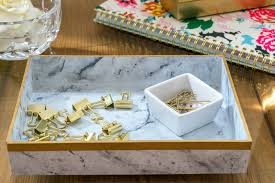 turn an inexpensive acrylic box frame into a great marble tray for accessories