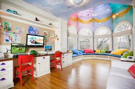 Eclectic Playroom with Hanover Flat Panel Cabinet Door, Wall sconce, Custom  Bench Cushion -