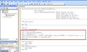 resume next on error shown above viewing the extracted macro using a text editor