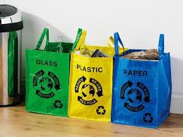 Livivo 3 X Colour Coded Recycling Bags W Handles Recycle Bag Glass