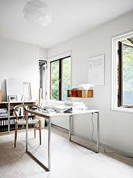 white airy home office. Design Ideas: Wishbone Chair And Sleek Desk Give The Home Office An Airy Ambiance White A