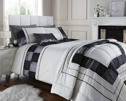 black cream colour stylish pintuck squares duvet cover luxury beautiful bedding