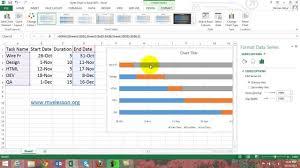 Youtube Gantt Chart Excel 2013 Make Gantt Chart In Excel 2013