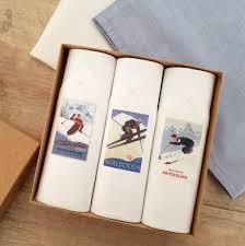 skiing men s handkerchiefs set