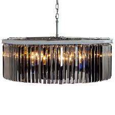 extra large chrome smoked glass prism drop cascade chandelier