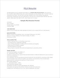 Mla Resume Format – Resume Sample