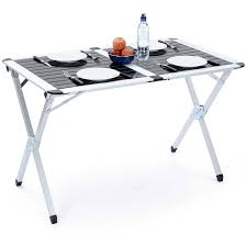 large portable folding camping table lightweight aluminium festival picnic trail