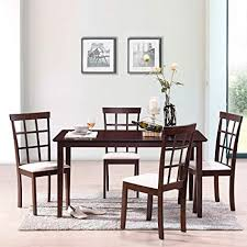 harper bright designs 5 piece dining set rubber wood construction 4 person dining table with microsuede upholstered