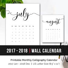 printable monthly calendar 2017 2018 2018 monthly wall calendar printable desk calendar pages minimalist calligraphy