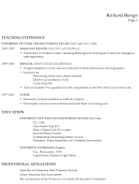 ... Combination Resume Example Professor of Real Estate Law P2