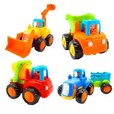 Friction Powered Cars, Push and Go Toy Trucks Construction Vehicles Toys Set for 1-3 Year Old Baby Toddlers- Dump Truck, Cement Mixer, Bulldozer, ...