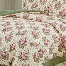 cabbage rose print 4 piece queen bedding set