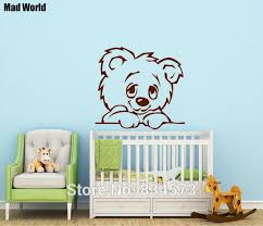 mad world nursery baby teddy bear silhouette wall art stickers wall decal home diy decoration on teddy bear wall art for nursery with mad world nursery baby teddy bear silhouette wall art stickers wall