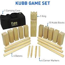 Lawn Game With Wooden Blocks Amazon Kubb The Viking Wooden Outdoor Lawn Game Set One 100 10