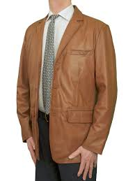 mens luxury leather blazer jacket 3 on tan