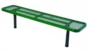 green inground backless bench