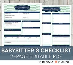 babysitter information sheet printable babysitters checklist printable editable 2 pages