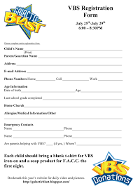 vbs registration form template vbs templates vbs registration form template