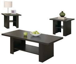 Table Set, 3 Piece Set, Cappuccino Contemporary Coffee Table Sets