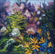oil painting flowers in garden is