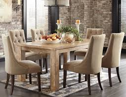 calm fabric tufted upholstery armless dining chairs set using unpainted rectangle dining desk
