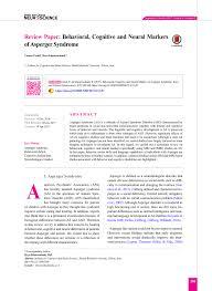 Pdf Behavioral Cognitive And Neural Markers Of Asperger