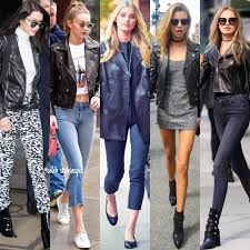 celebrity inspired outfit ideas models wearing diffe black leather jackets